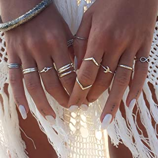BERYUAN Women Trendy 12Pcs Boho Silver Star Moon Knuckle Ring Set Stackable Teen Girls Ring Pack Jewelry Dainty Gift for Her