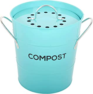 INDOOR KITCHEN COMPOST BIN by Spigo, Great for Food Scraps, Includes Charcoal Filter For Odor Absorbing, Removable Clean P...