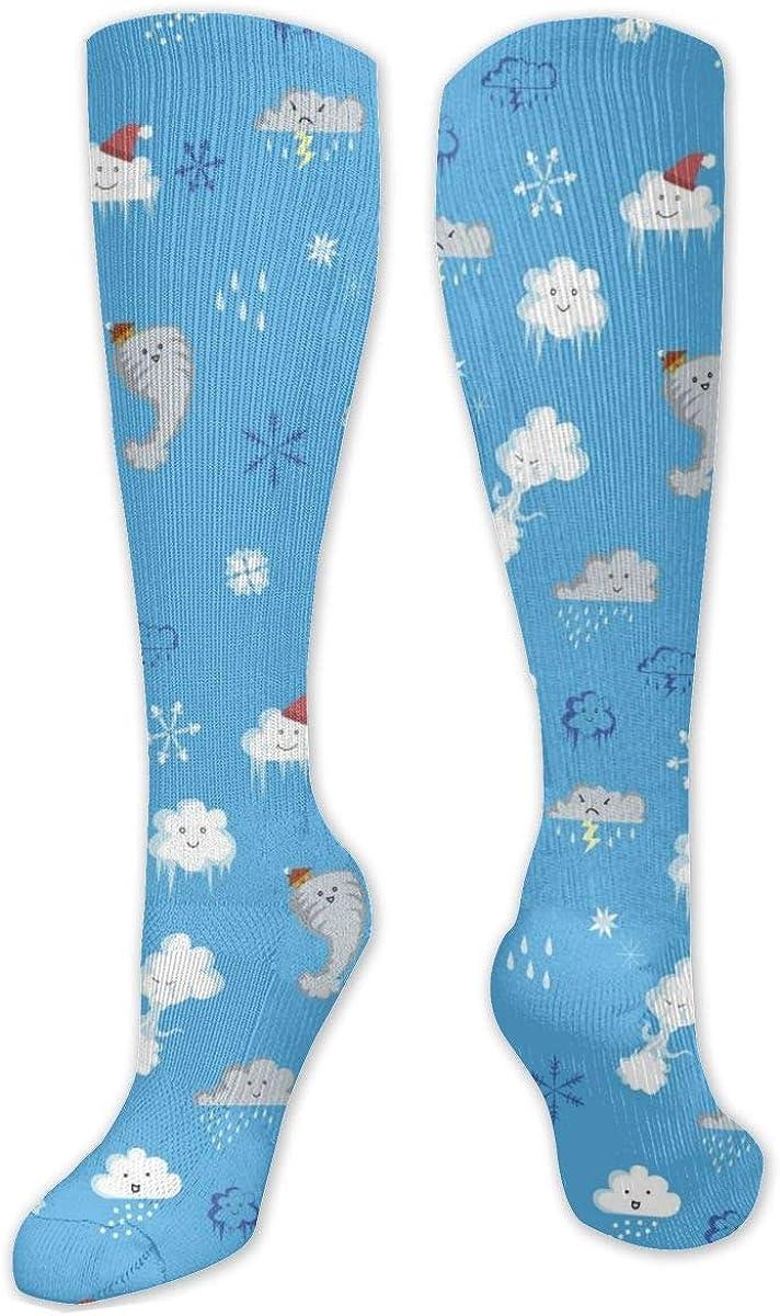 Cute_Cloud_Pattern Knee High Socks Leg Warmer Dresses Long Boot Stockings For Womens Cosplay Daily Wear