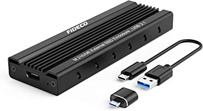 FIDECO M.2 NVME External SSD Enclosure, PCIe USB 3.1 Gen 2 10Gbps Adapter, USB C Hard Drive Caddy/Case for M-Key NVME SSD 2230/2242 / 2260/2280, Support UASP (Black)