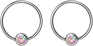 14g-20g Every-Day Surgical Steel Jeweled Ball Captive Bead Ring Body Piercing Hoops