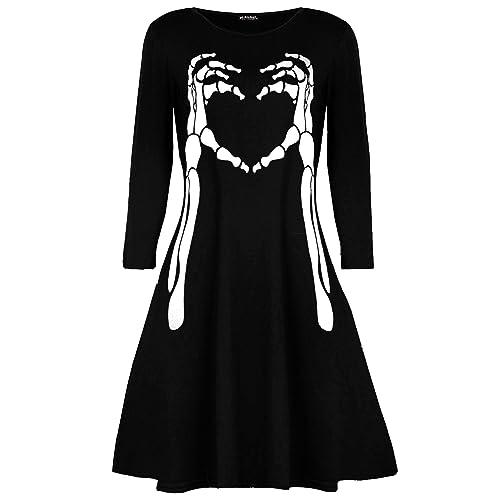 0d930c0e97 Fashion Star Womens Skeleton Bone Heart Printed Halloween Smock Flared  Ladies Mini Swing Dress