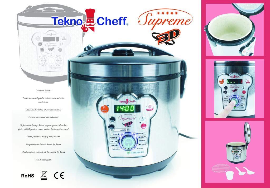 BE PRO Robot de Cocina Tekno Cheff Supreme. 14 menus 6 litros Cubeta Natural Stone, Programación 24 Horas: Amazon.es: Hogar