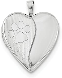 925 Sterling Silver Paw Prints Heart Photo Pendant Charm Locket Chain Necklace That Holds Pictures Animal Fine Jewelry For...
