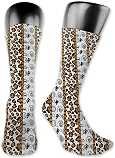 Socks Ladies Print Zambia,Cheetah Leopard Skin Pattern with Wildlife Featured Spirals Illustration,Amber Brown White,socks for toddler boys