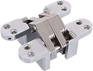 Ranbo (1 Pair) Hidden gate Hinge Stainless Steel Invisible Door Hinges Concealed Barrel Wooden Box Silver (4-6/9 inch)