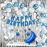 AcnA Decoracion Cumpleaños Azul, Globos Cumpleaños de Niño adultos con Happy Birthday Bandera y Globos de latex Cumpleaños Decoraciones de Fiesta para Niño Cumpleaños Baby Shower Decoración