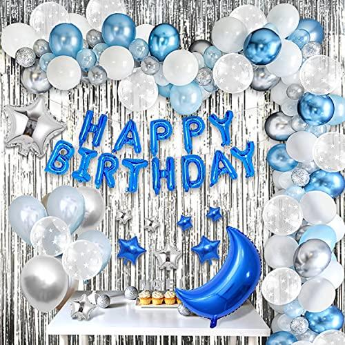 MMTX Decoracion Cumpleaños Azul,  Globos Cumpleaños de Niño adultos con Happy Birthday Bandera y Globos de latex Cumpleaños Decoraciones de Fiesta para Niño Cumpleaños Baby Shower Decoración