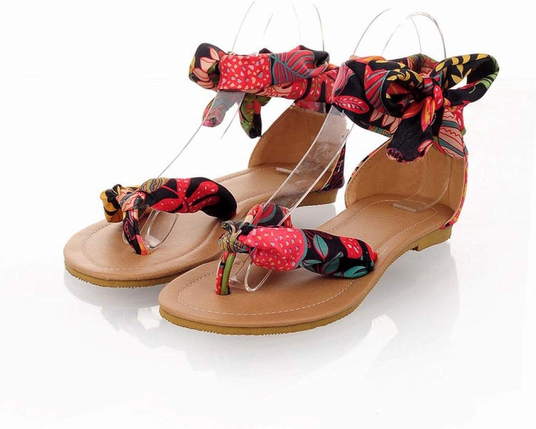 JOYBI Womens Casual Strappy Sandals Silk Print Clip Toe Non Slip Comfort Summer Beach Bohemia Flat Sandal