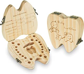 Baby Teeth Keepsake Box Tooth Fairy Holder Wooden First Lost Deciduous Tooth Collection Organizer Storage for Kids Memory(...