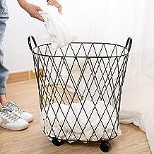 Laundry basket dirty household wheels Wäschebox Bad dirty laundry Aufbewahrungskorb iron light hamper,Black