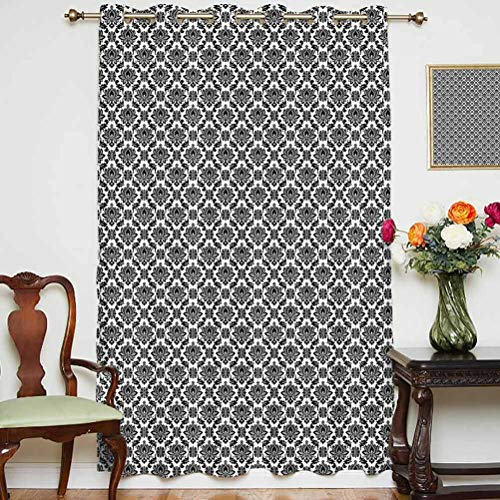 Damask Sliding Door Curtain Baroque Monochrome Floral Arrangement with Victorian Inspirations Leaves Swirls Decorative Thermal Backing Sliding Glass Door Drape ,Single Panel 63x84 inch,for Glass Door
