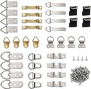 FEPITO 96 piezas de marco de fotos Kit de ganchos colgantes, 9 modelos Ganchos de imagen ganchos con tornillos para la familia de oficina Foto de la familia pintura colgando tipos surtidos