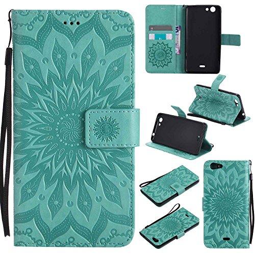 Guran® PU Leder Tasche Etui für Wiko Pulp 3G (5 Zoll) Smartphone Flip Cover Stand Hülle & Karte Slot Hülle-grün…