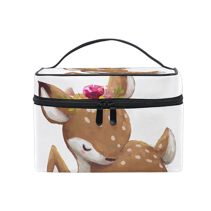 資源母性麺ALAZA 化粧ポーチ 鹿柄 しか柄 化粧 メイクボックス 収納用品 ホワイト 大きめ かわいい
