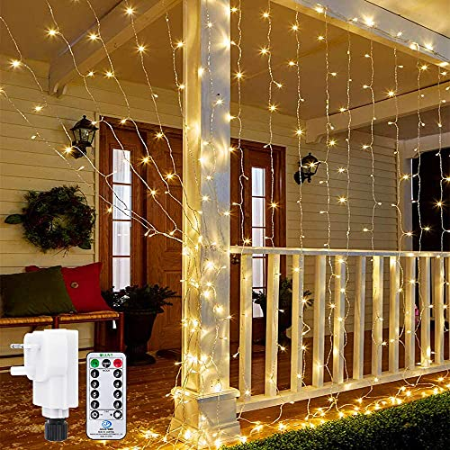 Ollny Curtain Lights Mains Powered, 3m x 3m 300 LED...