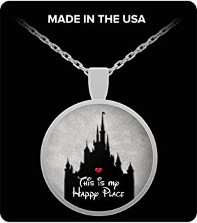 Disney Happy Place Gift for Women Necklace Castle