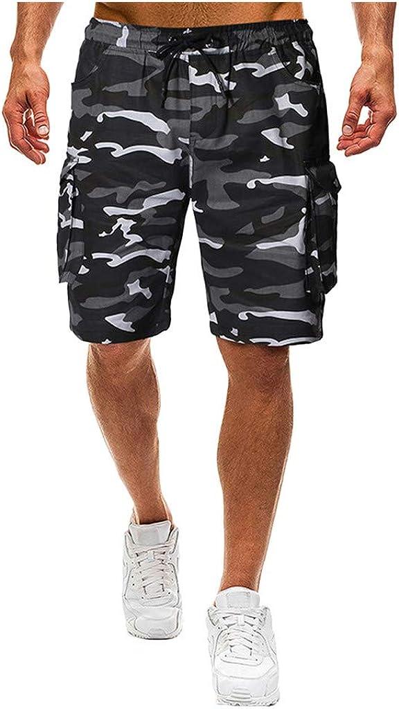 DIOMOR Mens Fashion Camo Drawstring Cargo Shorts Casual Athletic 9