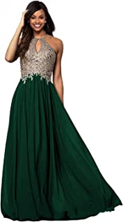 Womens Halter Gold Applique Prom Bridesmaid Dresses 2019 Long Chiffon Evening Formal Gowns P199