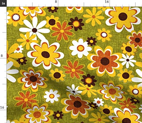 Spoonflower Fabric - Retro Geo Flowers Flower Daisy Tangerine Vintage Floral Modern Home Printed on Petal Signature Cotton Fabric Fat Quarter - Sewing Quilting Apparel Crafts Decor