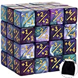 48 PCS Token Dice Counters Magic The Gathering Glitter Sparkle Dice Marble Cube D6 Dice for Loyalty CCG MTG Creature Stats Card Gaming Accessories (Turquoise&Lilac, Navy&Fuchsia)