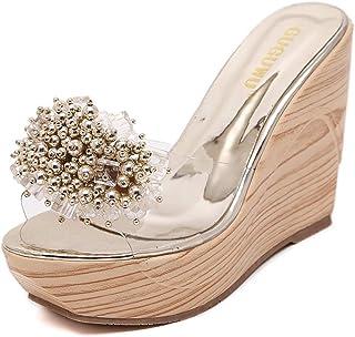 Vrouwen Glitter Bloem Wedge Platform Slide Sandalen Open teen Slip op Clear Strappy Cork Romeinse Hoge Hak Slipper