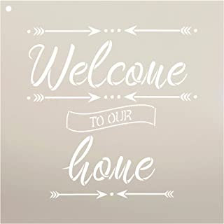 Welcome to Our Home with Arrows Stencil by StudioR12   Reusable Mylar Template   Use to Paint Wood Signs - Pallets - Pillo...