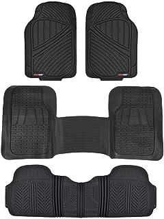 Motor Trend FlexTough Rubber Floor Mats & Liners Mega Truck/SUV Combo - Heavy Duty Odorless (Black)