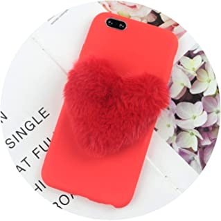 Furry Love Hearts Cute Hair Phone Case for Samsung for Galaxy J4 2018 Cases for Galaxy J2 Pro J3 J5 2017 J7 Prime J6 J8 2016 Cover,BigRedLove Red,J5 2016