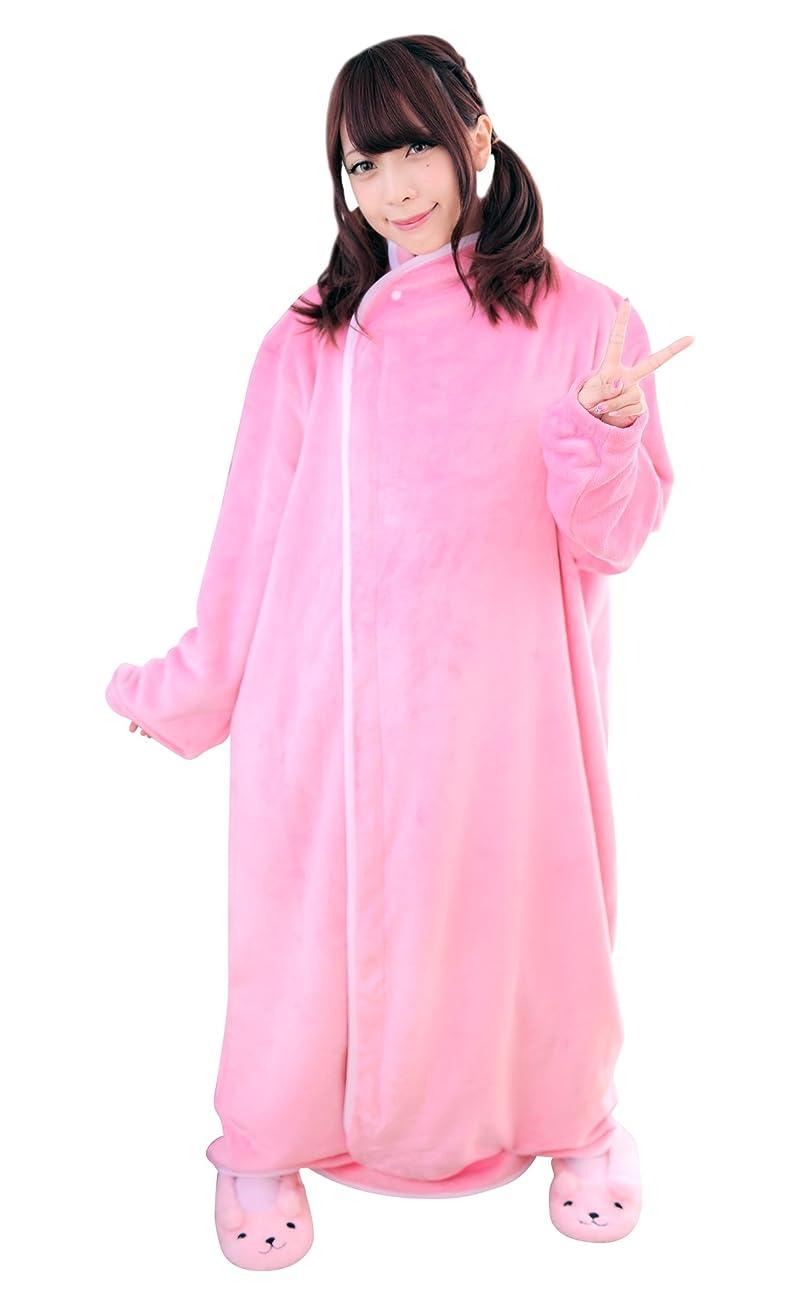 リフレッシュ参照するほとんどないBIBILAB (ビビラボ) はだけない着る毛布 ピンク Mサイズ 2018モデル HFM-M-PK-18