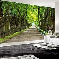 カスタム壁画壁紙3Dステレオ美しい緑の木道写真壁壁画リビングルームソファ背景壁紙, 300cm×210cm
