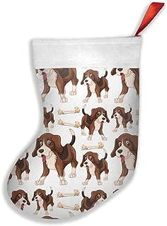 QAZWSX Cartoon Beagle Dog Pattern Personalized Christmas Hanging Stockings Bag Socks Christmas Tree Decoration Custom Gifts (Christmas Tree Decoration)