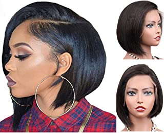 Glueless Virgin Human Hair Wigs 130% Density Short Bob Side Part Wigs Lace Front Brazilian Human Hair Wigs 8inch