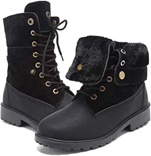 GOUPSKY Winter Snow Boots for Women Lace Up Fur Lined Warm Comfortable Waterproof Low Heel Shoes Mid Calf Ankle Booties