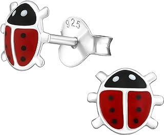 Laimons - Orecchini da bambina a forma di coccinella, 6 mm, in argento Sterling 925, colore: nero, bianco, rosso