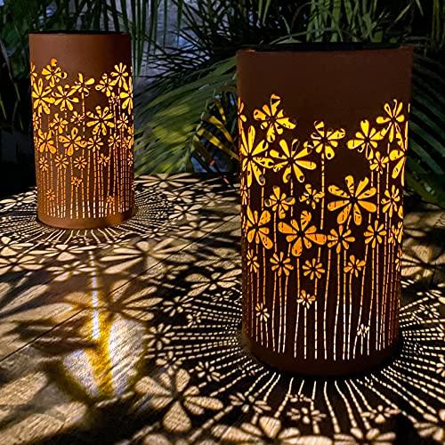 pearlstar Outdoor Solar Table Lamp 2pack Metal Flower Shape Solar Lantern Lights, Retro Orange Finish, Outside Decor for Patio Garden Yard Pathway Tabletop Waterproof(Flower)