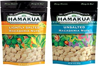 Hamakua Macadamia Nuts Twin Pack — Lightly Salted and Unsalted Flavors — 100% Natural Hawaiian Macadamian Nut No Carb Healthy Snack — 2 x 10oz (283g) Bag