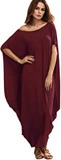 Women's One Off Shoulder Caftan Sleeve Harem Maxi Dress