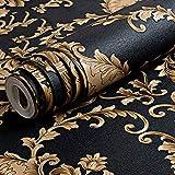 Papel pintado de lujo con relieve, dorado/negro, lavable, de PVC, con patrón de damasco, 3D, para sala de estar o dormitorio, de 100 x 53 cm.