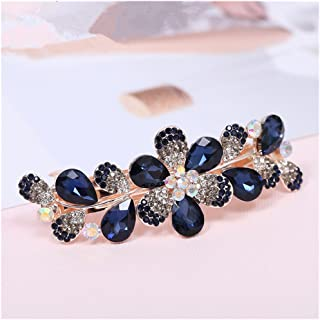 Casualfashion Women Girls Crystal Rhinestone Flower Pattern Hair Spring Clip Hairpin Sweet Hair Accessories (Dark Blue)