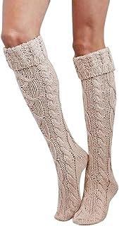 ZEZKT, calcetines hasta la rodilla calcetines largos mujeres color sólido calcetines altos moda casual calcetines cálidos de otoño e invierno calcetines de lana sobre la rodilla