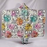 Paster Sugar Skull, con capucha, festival, manta con capucha, manta vegana, multicolor, yoga, meditación, floral, colcha hecha a medida de 40 x 50 pulgadas