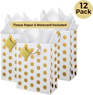 CRANBURY Medium Gold Gift Bags with Tissue Paper (Set of 12, Dots), Metallic Gold Foil Gift Bags for Baby Shower, Birthday Gift Bags, Gift Bags for Wedding, Return Gift Bags, Bolsas de Regalo