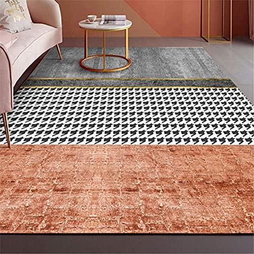 Kunsen habitacion alfombras Juveniles para Dormitorio Alfombra Rectangular Naranja Gris decoración salón antiincrustante y Antideslizante Decoracion Infantil 80X120CM 2ft 7.5' X3ft 11.2'