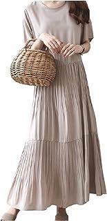[ライラ] ティアード ロング ワンピース 半袖 マキシ スカート ゆったり ワンピ 可愛い M ~ 2XL レディース
