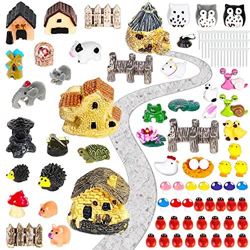 172Pcs Miniature Fairy Garden Accessories, Ocheyu Fairy Garden Kit Including Fairy House, Garden Animal Figurines, Micro Landscape Ornaments for Garden Dollhouse Potted Plant Bonsai Terrarium Decor
