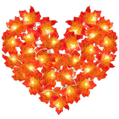 Gibot Thanksgiving Decorations Lights Fall Garlands, 20 LED 6.5 ft Battery Powered Maple Leaf Lights Harvest Thanksgiving Decor Halloween String Lights for Indoor Outdoor Wedding Garden