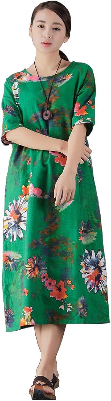 YUHEYUHE Women's Casual Loose Summer Soft Printed Retro Maxi Cotton Linen Dresses Green