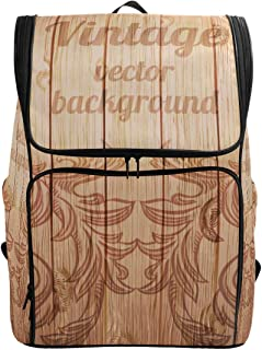 YCHY Backpack Vector Vintage Baroque Engraving Floral Scroll bag