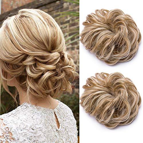 2PCS Haargummi Haarteil Dutt Haarteil Hair Extensions wie Echthaar Günstig Gewellt Gummiband Natürlich Updo Hair Extensions Haarverdickung 70g/Packung #Honigblond & Bleichblond
